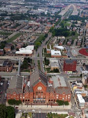 An aerial view shows Union Terminal (top right) and Music Hall (bottom). A task force is recommending a Hamilton County sales tax increase to pay for major interior and exterior renovations.