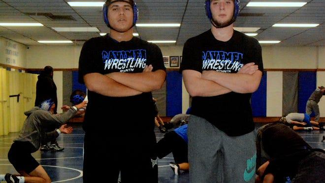 Cavemen senior wrestlers Adrian Flaco and Kyle Mallett lead the pack this season.