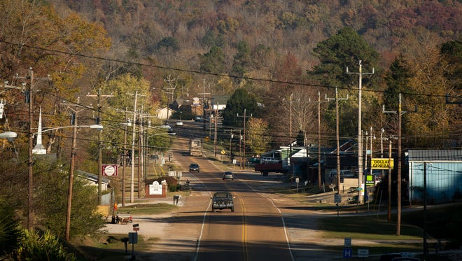 Cars travel on Savannah Highway in Waynesboro, Tenn., on Nov. 14, 2016. Donald Trump won Wayne County with 86 percent of the vote, the highest margin in the state.