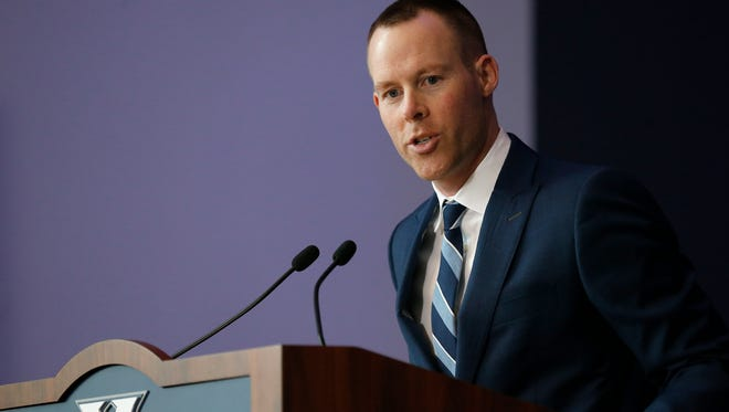 New basketball head coach Travis Steele speaks about his plans for the program as he's introduced at the Cintas Center on Xavier University's campus in Cincinnati on Wednesday, April 4, 2018.