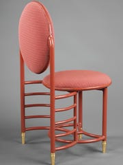 Designed by Frank Lloyd Wright, manufactured by Steelcase Corporation, Grand Rapids, MI, Johnson Wax Company Chair, ca. 1938
