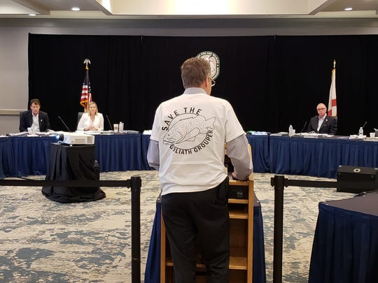 Tom Ingram of Tallahassee, president of the Diving Education and Marketing Association, urged FWC commissioners to keep goliath grouper protections in place Thursday.