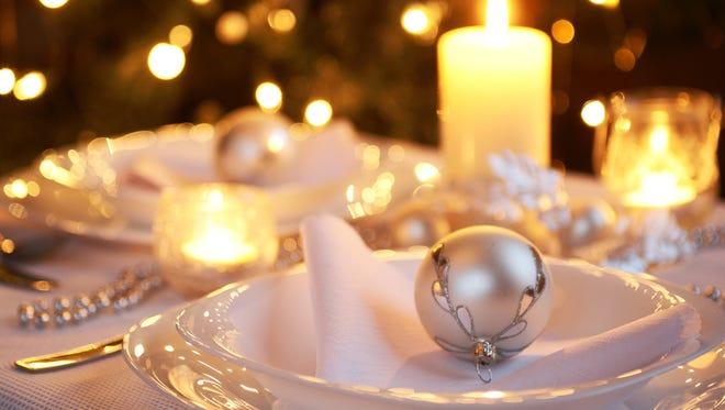 Christmas dinner table setting.