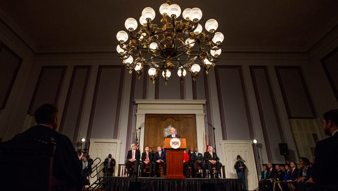 Governor Robert Bentley gives his State of the State Address at the State Capitol Building in Montgomery, Ala. on Tuesday evening February 2, 2016.