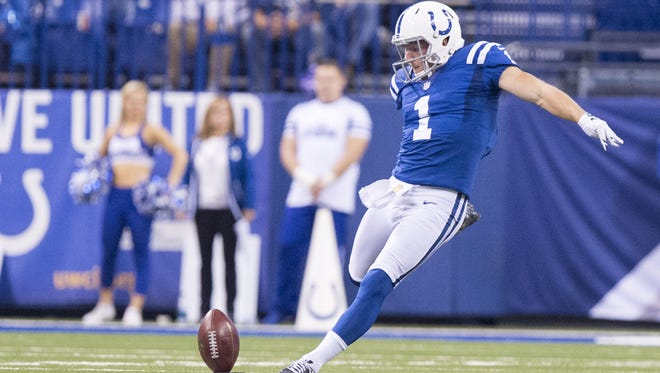 Indianapolis Colts punter Pat McAfee (1) kicks off to the Tampa Bay Buccaneers after the team scored during the second half of an NFL football game Sunday, Nov. 29, 2015, at Lucas Oil Stadium. Colts won 25-12.