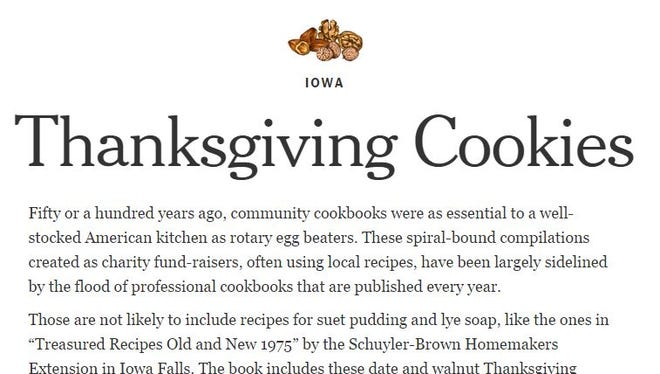 This screen grab from nytimes.com shows the entry for Iowa in a state-by-state list of Thanksgiving dishes.