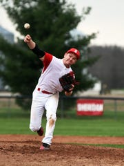 Hunter Hardy fires a pitch during the sixth inning of Sheridan's 5-3 win against visiting Philo on Wednesday.