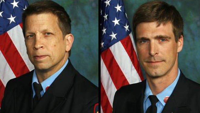 Firefighters Jerry Fickes and Christopher Leach died Sept. 24, 2016, fighting a fire in the Canby Park neighborhood of Wilmington, Del.
