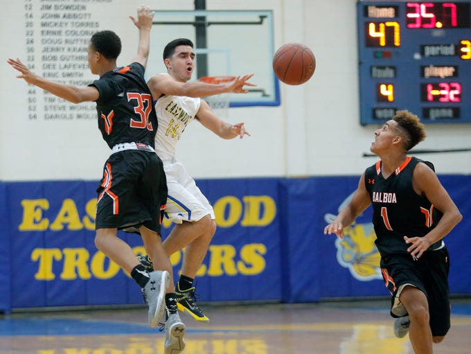 Eastwood's Carlos Guillen passes after being double