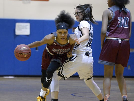 Edison junior guard Dyaisha Fair, left, is averaging more than 26 points and eight rebounds while handing about about five assists a game for the Inventors (10-3).