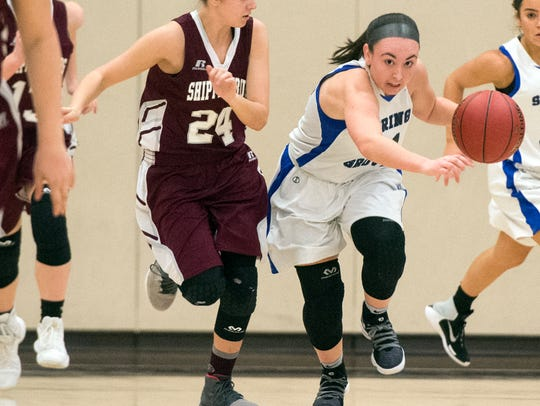 Spring Grove's Haley Wagman drives the ball up the