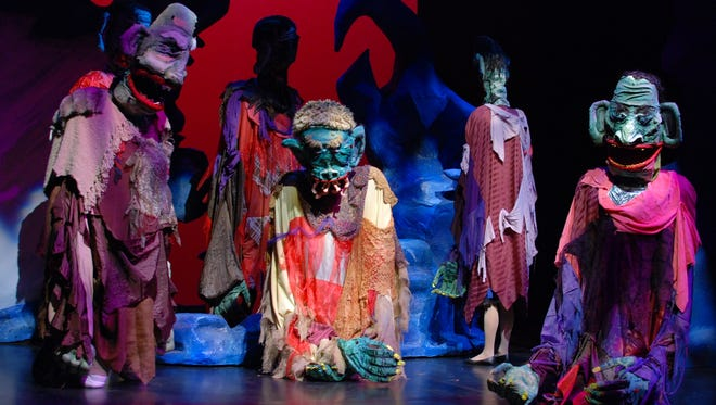 """Giants Bonecruncher, Meatdripper, Fleshlumpeater, Childchewer, Bloodbottler and Gizzardgulper designed by Squallis Puppeteers in StageOne's production of """"BFG"""" or """"Big Friendly Giant,"""" adapted from the  book by Roald Dahl."""