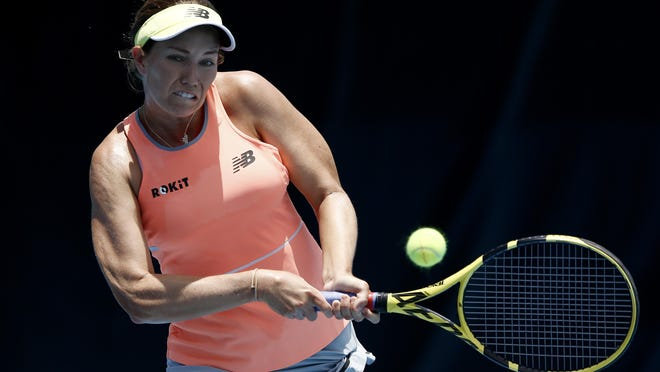 Danielle Collins of the United States returns a shot to Amanda Anisimova of the United States during the UTR Pro Match Series Day 1 on Friday in West Palm Beach.