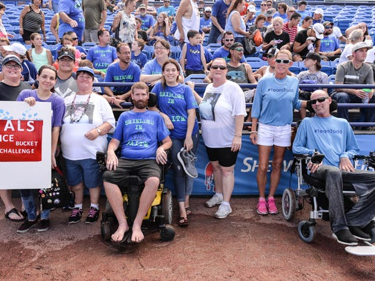 The St. Lucie Mets 2nd Annual ALS Awareness game and ice bucket challenge recently took place after the ball game at First Data Field in Port St. Lucie. From left: Kerri Olah Brennan, Madison Rodriguez, Pam Olah Brennan, Sharon Carr, Chris R. Carr, Tiffany Carr, Cindy Almeida, Kelly McCullars and Todd Hendrickson.