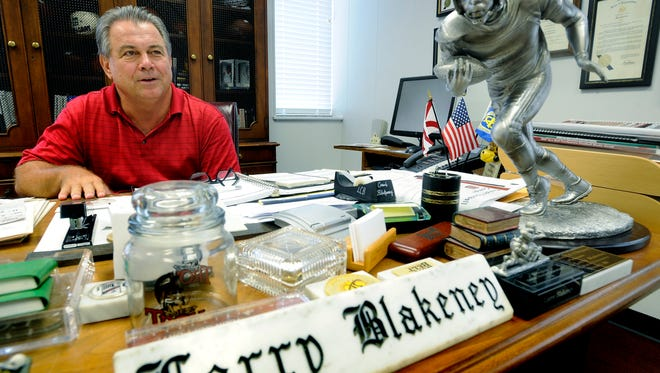 Troy University head football coach Larry Blakeney at his office in Troy, Ala. on Monday June 29, 2009. (Montgomery Advertiser, Mickey Welsh)
