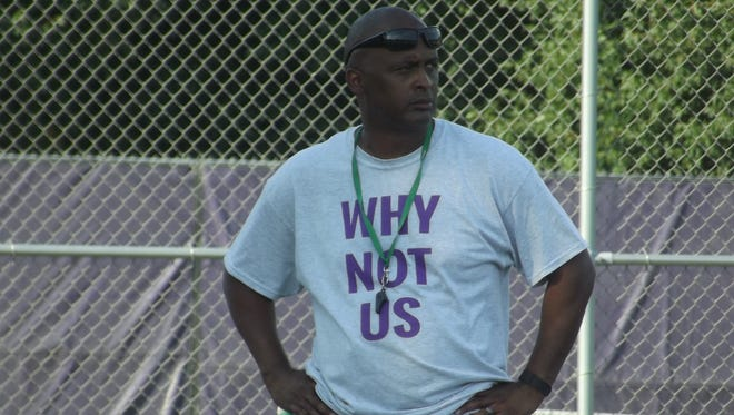 Green Bay West football coach Tommie Williams looks on at practice Tuesday. Williams is entering his first season as the team's head coach.