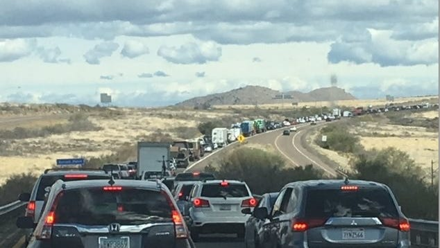 Traffic Backed-Up on I-17 northbound near Sunset Point  due to single-car rollover.