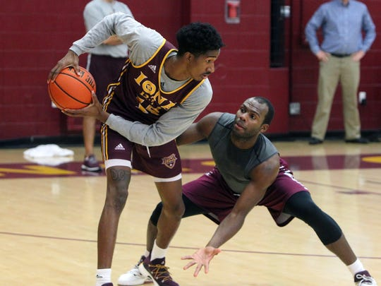 Deyshonee Much, left, during practice at Iona College in New Rochelle Nov. 8, 2017.