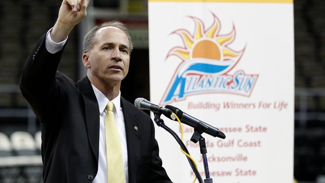Thursday, Dec. 8, 2011 NKU SPORTS :  Northern Kentucky University Athletic Director Dr. Scott Eaton shows the student body that the number one now stands for Division I as they officially announced the switch from Division II to the Atlantic Sun Conference Division I athletics during a press conference and pep rally at the school. The Enquirer/Jeff Swinger