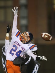Penn Yan's Desmond Battin can't reach this pass in