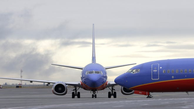 A Southwest Airlines Boeing 737 waits to taxi to a gate on Jan. 26, 2016, at Seattle-Tacoma International Airport.