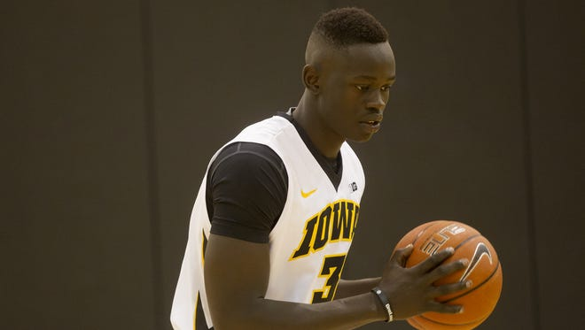 Iowa's Peter Jok shoots around during media day at Carver-Hawkeye Arena on Thursday, Oct. 2.