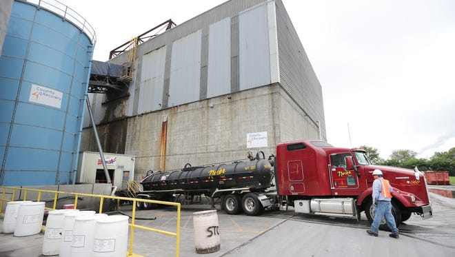 A truck carrying liquids backs into Covanta, an energy from waste facility on June 10, 2014. Covanta Energy Corp., 2320 S. Harding St., Indianapolis, is building a new recycling plant next to the incinerator and plans to break ground in 2015.