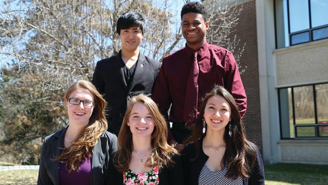 The student recipients of the Chancellor's Award are, clockwise from top left, Yoshinori Tsuji, Joshua Wright, Keara Wright, Angelika Juerss and Rosia Kittel.