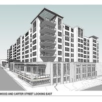A rendering by McMillan Pazdan Smith Architecture, obtained from the City of Asheville, shows the facade of the 9-story hotel planned for 202 Haywood Street.