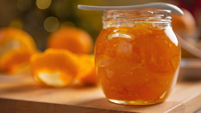 Thin-shred orange or tangerine marmalade adds zing to the glaze.