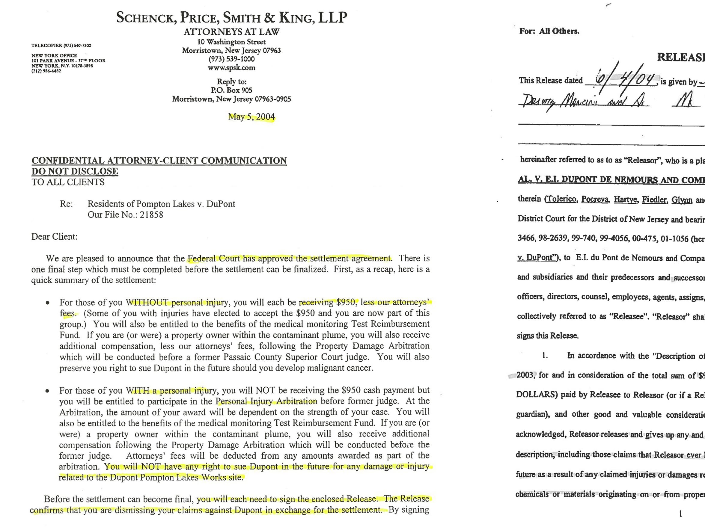 2004 letter from residents' lawyer to residents outlining a settlement with DuPont and the stipulation that they would have to sign a release waiving their rights to sue DuPont for any future pollution found in their neighborhood. Residents had not yet been told about the potential for vapor intrusion.