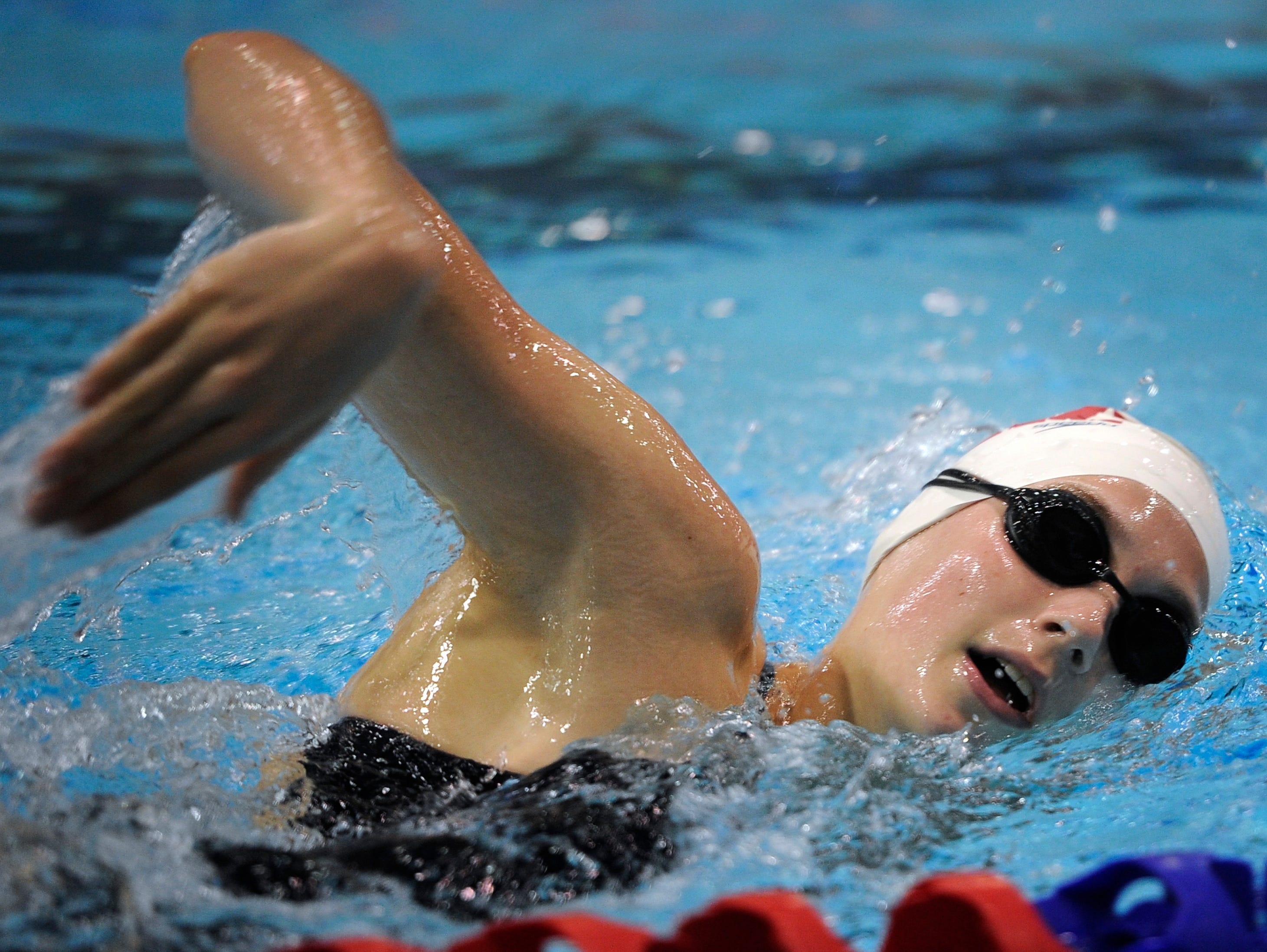 Alex Walsh swims as she practices for the Olympic Trials Wednesday June 22, 2016, in Nashville, Tenn.