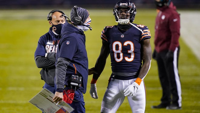 Chicago Bears wide receiver Javon Wims (83) talks with head coach Matt Nagy after being flagged for unnecessary roughness against the New Orleans Saints Sunday in Chicago. Wims was ejected from the game. On Monday, he was suspended by the NFL for two games.