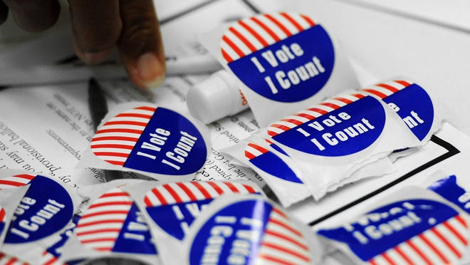 Voting stickers.