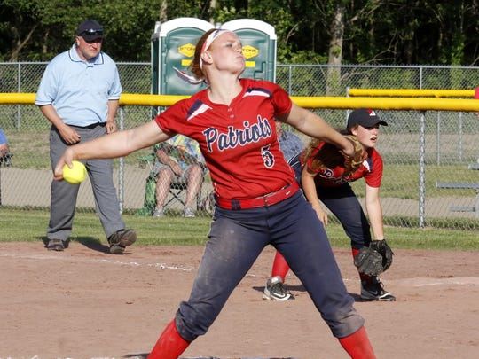 Paige Rauch delivers a pitch for Binghamton during the Class AA state final against East Meadow on June 10 at Moreau Recreational Park in South Glens Falls.