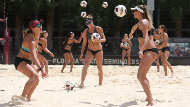 FSU beach volleyball practices on the school's campus on Wednesday, April 12, 2017.