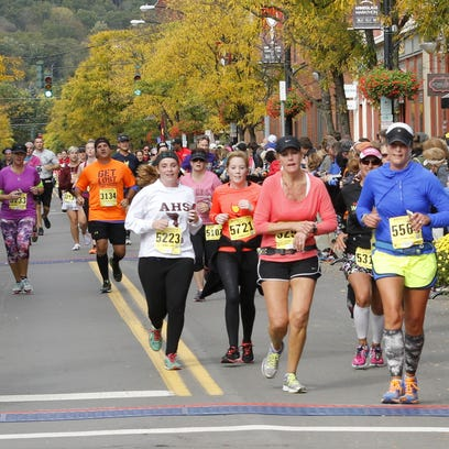 Runners compete in the Wineglass Marathon on Sunday
