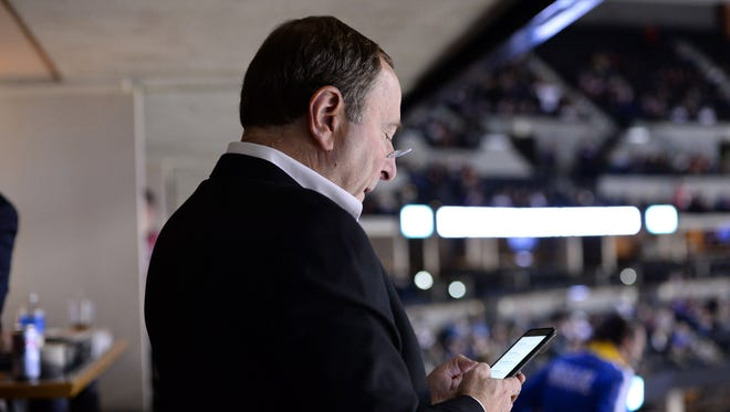 NHL commissioner Gary Bettman during the second period of the game between the Arizona Coyotes against the Colorado Avalanche at Pepsi Center earlier this season.