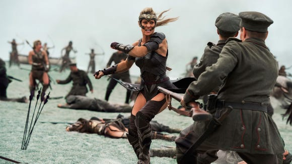 In 'Wonder Woman,' pictured, the Amazons' outfits offer