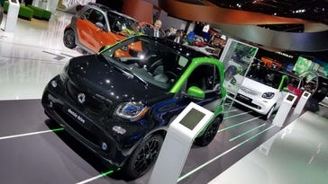 Smart displayed its new, 2017 ForTwo electric vehicle at this year's North American International Auto Show. Smart is discontinuing gas-powered versions of the micro-two seater.
