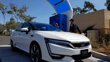 The 2017 Honda Clarity Fuel Cell refuels at one of 26 California hydrogen stations. Government funding for 100 stations is in the pipeline. The Fuel Cell is the first of three alternative powertrain Clarity vehicles to hit the market.