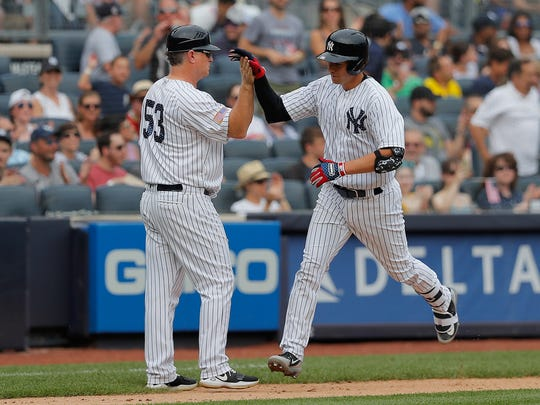 9090a9a3e1f New York Yankees   Kyle Higashioka is congratulated