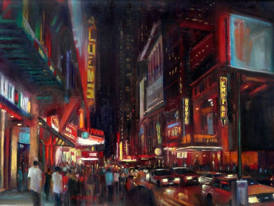 Hall Groat's oil painting of 42nd Street in New York