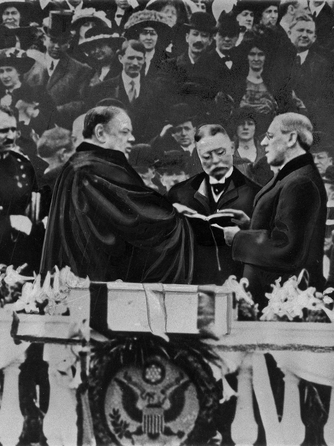 Woodrow Wilson takes the oath for his first presidency in Washington on March 4, 1913.