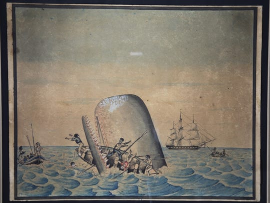 "This watercolor is one in a series of nine paintings depicting whaling scenes by the ""Anonymous Whaleman Artist."""