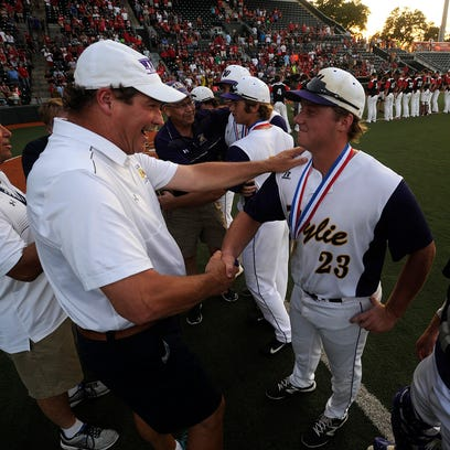 Wylie's Riley Hedge (23) is congratulated by athletic