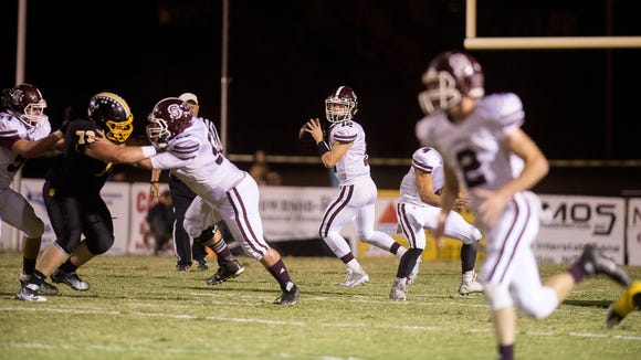Brodie Bowman (12) and Swain County travel to undefeated West Montgomery for Friday's second round of the NCHSAA 1-AA football playoffs.