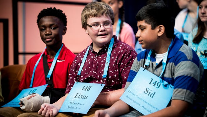 Liam Nyikos, 12, from Carlsbad, N.M., participates in the preliminary rounds of the 2017 Scripps National Spelling Bee on May 31, 2017.