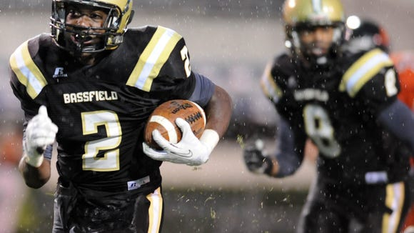 Bassfield's Jamal Peters returns a fumble for a touchdown as they take on Calhoun City.
