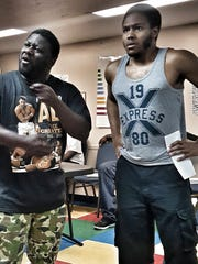 "Antonio ""T-made"" Taylor and William Yore in rehearsal for Smoked Apple Theater Group's production of Kenneth ""Nipsey Green"" Coleman's new play ""Oh Lord! Mama Done Burn the Biscuits."""